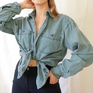 Pale blue green oversize cotton button-down shirt